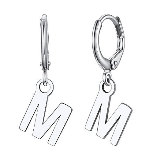 ChicSilver Damen Ohrringe Buchstabe M Ohrstecker Creolen Hoop Ohrhänger mit Geschenkebox für Mädchen Frauen