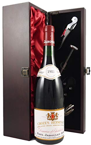 Crozes Hermitage, Domaine de Thalabert Paul Jaboulet Aine 1983 en una caja de regalo forrada de seda con cuatro accesorios de vino, 1 x 750ml