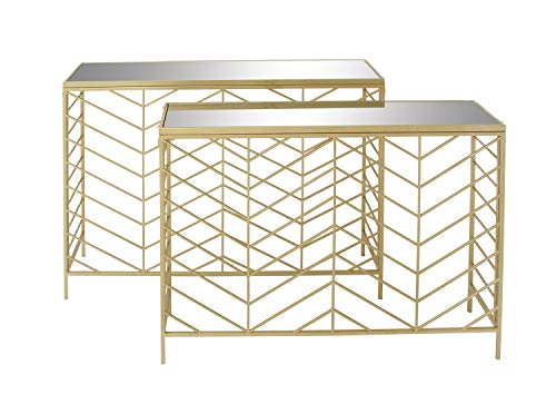 """Deco 79 Metal Glass Console Tables (Set of 2), 39"""" x 42"""""""