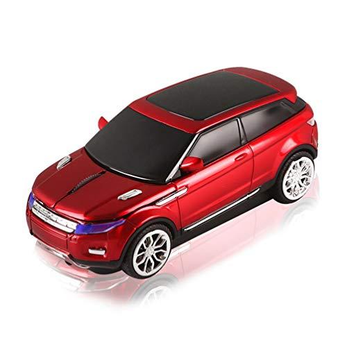 3C Kingdom Ratón inalámbrico con forma de coche deportivo deportivo deportivo SUV de 2,4 GHz, 1600 DPI óptico de oficina para juegos con receptor USB para PC, ordenador portátil (rojo)