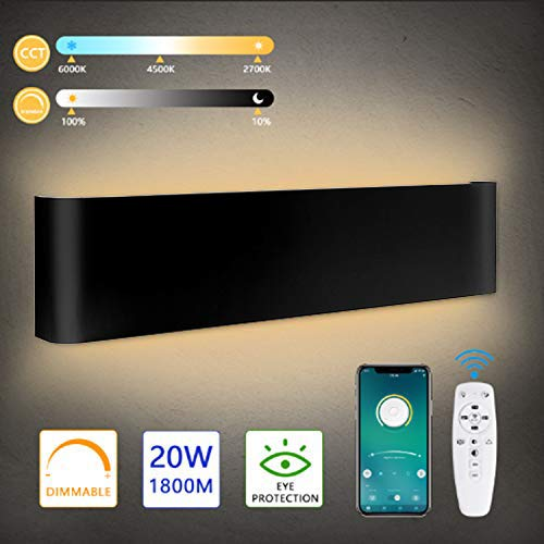 Lureshine - Lámpara LED de pared con mando a distancia y aplicación Bluetooth, 24 W, 2000 lm, 2700 - 6000 K, temperatura de color ajustable y brillo, 40 cm, 220 V, brillo moderno