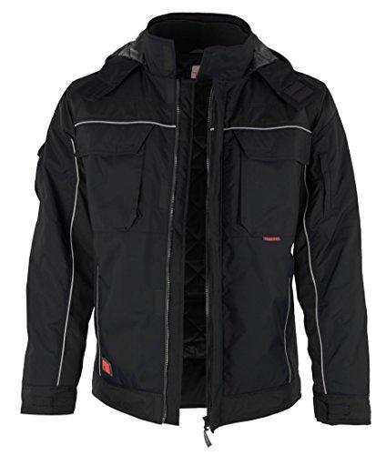 QUALITEX PRO-Winterjacke Arbeitsjacke Stehkragen mit Klett -verschieden Farben (Schwarz, 5XL)