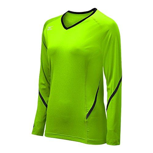 Mizuno Damen Techno Generation Long Sleeve Jersey, Damen, grün/schwarz, XXS