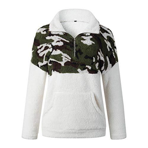 Jsv-594 - Sudadera para mujer con capucha y cuello alto de manga larga, diseño de patchwork, color negro M-blanco. L