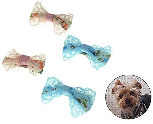 Blu rosa 4 fiocchi di pelo di cane Clips Fiocchi per capelli Prodotti per toelettatura di piccoli animali domestici Peli di animali domestici Accessori per cani Yorkshire Terrier Fermagli per cani