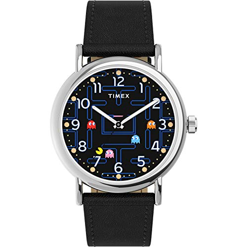 Timex Weekender x PAC-MAN 38mm Watch – Black Dial Silver-Tone Case with Black Leather Strap
