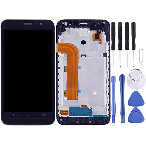 Vervanging LCD-scherm, mobiele telefoon gebarsten gebroken scherm Flex kabel vervanging LCD-scherm en Digitizer volledige montage met frame voor ASUS Zenfone Ir ZB500KL X00AD telefoon (zwart), Zwart
