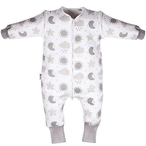 Lictin Schlafsack mit Füße Schlafsack Baby Babyschlafsäcke mit abnehmbaren Ärmeln für Säugling Kinder 1-3 Jahre alt von 75 bis 95 cm aus Baumwolle 2.0 tog