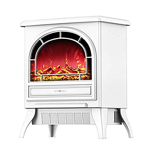 Calefactor De pie chimeneas estufa de calefacción eléctrica de 1800W 3D realista de seguridad efecto de la llama del termostato del calentador eléctrico portátil chimenea zona de chimenea whiteelectri