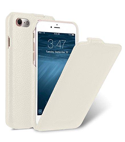 MELCKO Tasche passend für Apple iPhone SE 2020, iPhone 8 & iPhone 7 (4.7 Zoll), Hülle Außenseite aus beschichtetem Leder, Schutz-Hülle aufklappbar, Flip-Hülle, Ultra-Slim Cover, Etui, Weiß