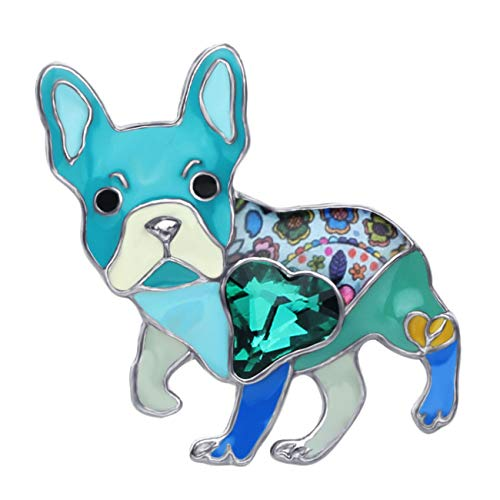 DUOWEI Alloy Enamel Rhinestone French Bulldog Pug Dog Brooch Pet Pin Scarf Clothes Jewelry Gift for Women Lover (Blue)