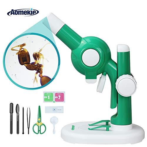 Aomekie Mikroskop f¨¹r Kinder ab 6 Jahre Experimentierkasten mit LED Licht und viele Zubeh?re DIY Spielzeug Baustein Gr¨¹n