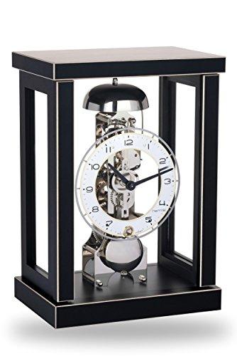 Hermle Hochwertige mechanische Tischuhr mit Schlüsselaufzug Schwarz 27cm- 23056-740791