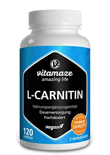 L-Carnitina de Alta Dosis y Vegana, 680 mg de L-Carnitina Pura por Día, 120 Cápsulas durante 2 Meses, Suplemento Natural sin Aditivos, Calidad Alemana