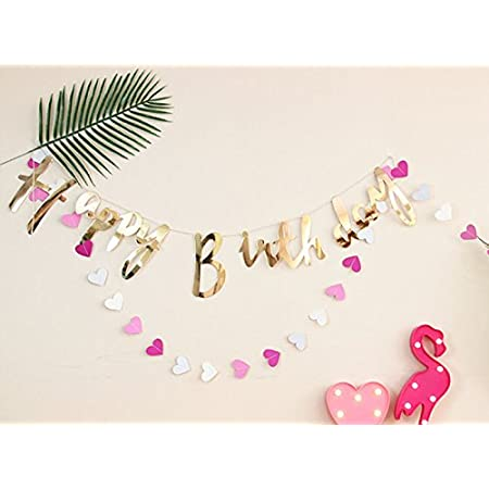 Party Propz Happy Birthday Banner Gold Letters for Girls Boys Husband Wife Women Home Office Apartment Decorations/ Thirty 30 40th,50th,Minecraft Mermaid Dinosaur Fortnite Jungle Decor Sign Supplies