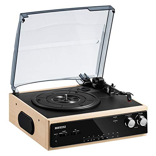 HOFEINZ スピーカー内蔵 レコードプレーヤー/Bluetooth出力/AM FMラジオ…