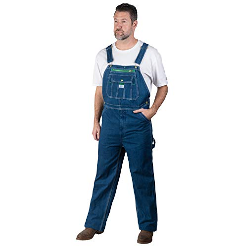 Liberty mens Stonewashed Denim Bib overalls and coveralls workwear apparel, Stonewashed, 52W x 30L US