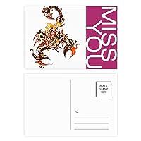 カラフルなサソリ動物の芸術のシルエット ポストカードセットサンクスカード郵送側20個ミス