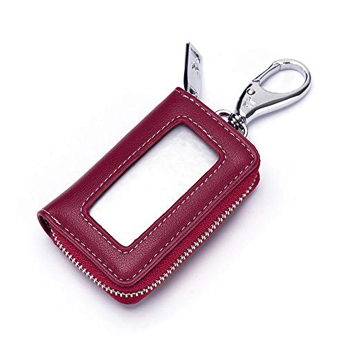 Schlüsseletui weibliches Leder universelles transparentes Fenster Mini-Kompakt-Zugangskartenset multifunktionales Autoschlüsseletui-Rotwein