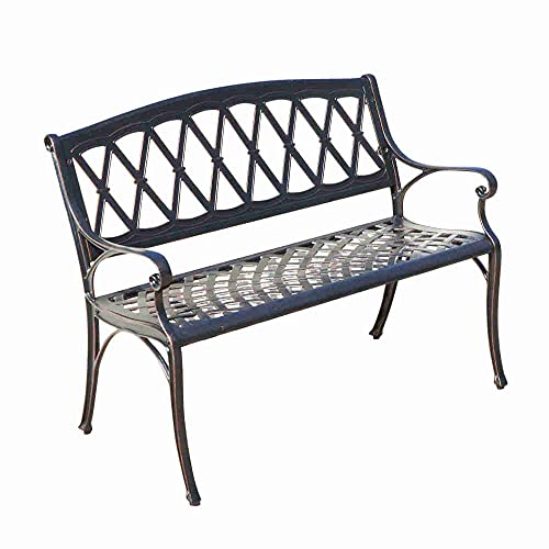 Two Seater Metal Outdoor Bench - Weatherproof, Sturdy Cast Aluminium Park Seat with a Vintage Bronze Finish - Lightweight Lattice Style Garden Twin Seat Chair Perfect for Patio, Lawn & Conservatory