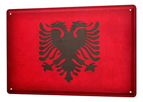 LEotiE SINCE 2004 Blechschild Dekoschild Küche Garage Welt Reise Albanien Flagge Wand Deko Schild 20X30 cm
