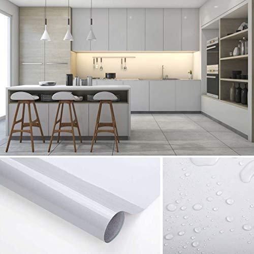 KINLO Tapeten Küche grau 60x500cm (3㎡) aus hochwertigem PVC Klebefolie Aufkleber Küchenschränke wasserfest Aufkleber für Schrank selbstklebende Folie Küchenfolie Dekofolie MIT GLITZER