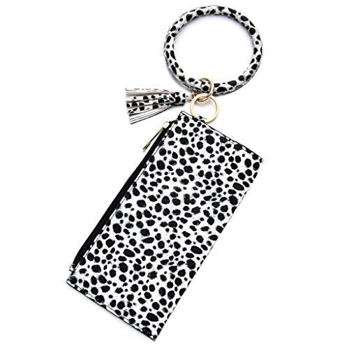 Njuyd - Mini cartera de moda para mujer, diseño de leopardo, con cierre de cremallera, con llavero