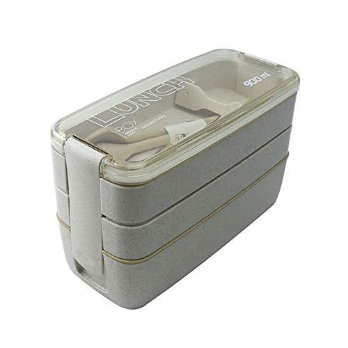 CHENCfanh Bento Box Eco-Friendly Lunch Box Contenitore di alimento, Paglia di Grano, Materiale Microwavable da tavola di Lunchbox, 900ml 3 Strati (Color : Gray)