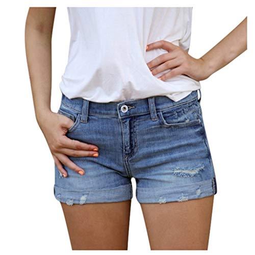 Lulupi Jeans Shorts Damen Bermuda Sommer Kurze Hose Baumwolle Zerrissene Jeanshose Frau Mädchen Denim Highwaist Stretch Jeansshorts Hotpants
