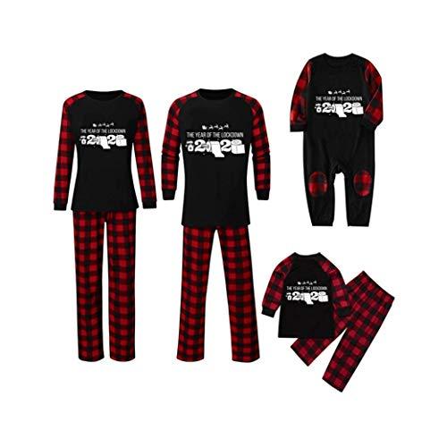 Hunpta - Conjunto de pijama a juego para la familia, pijamas para parejas, pijamas de manga larga y pantalones, mameluco para hombres, mujeres, niños, bebés (niños de 5 años)