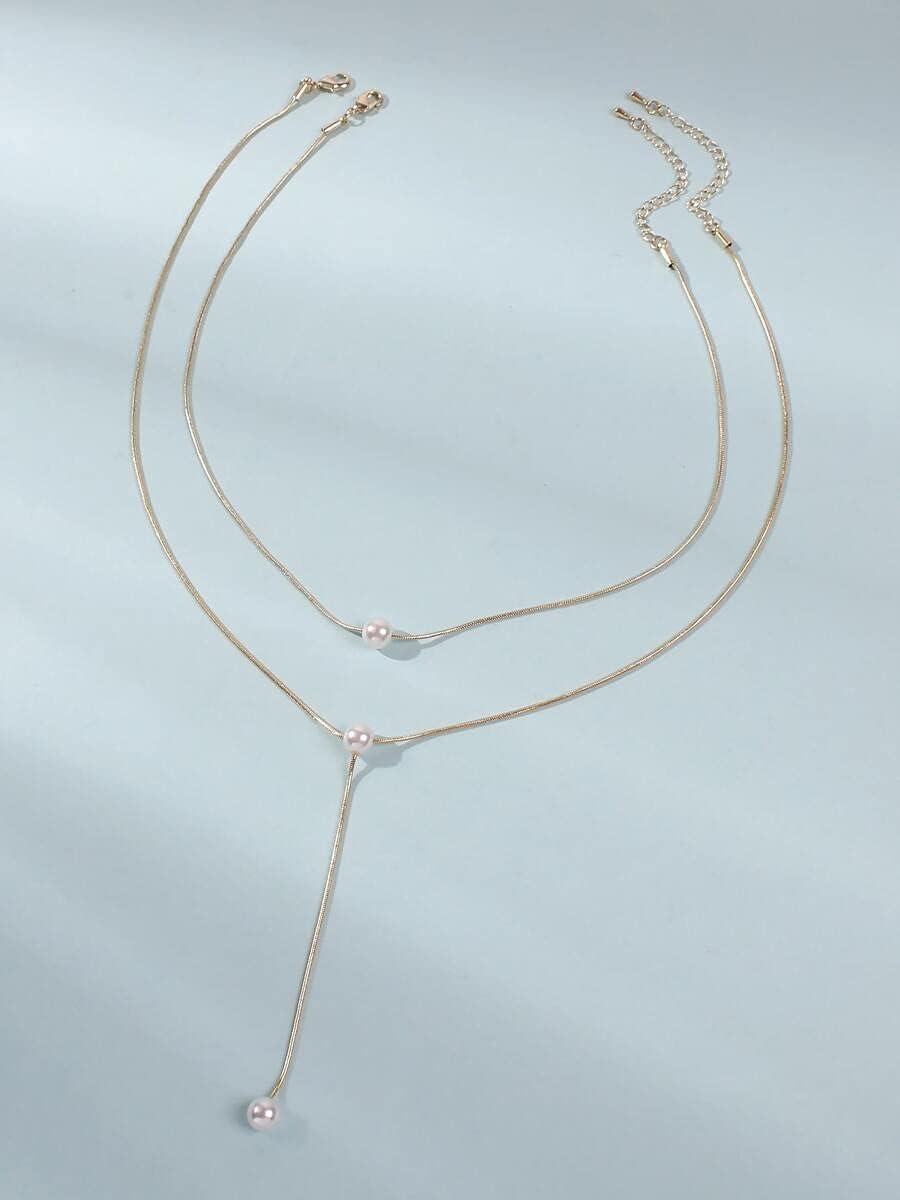 AXJTNL Necklace Pendant 2pcs Faux Pearl Decor Y Lariat Necklace (Color : Gold)