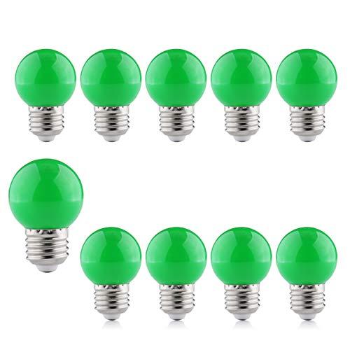 Bunte Glühbirne E27, Grün Farbe Glühbirne 2W LED Deko Glühbirne, B4U Energiesparend LED-Lampen Für Lichterketten, Weihnachten Baum, Party Nachtlichter, 10 Packungen