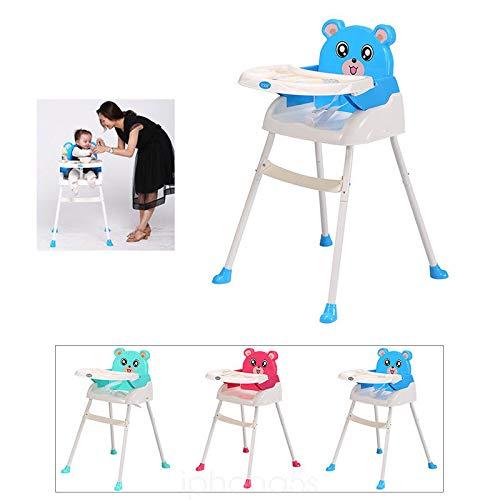 Kids hoge stoel baby, 4 in 1 kinderstoel baby eetstoel zitverhoger trapstoel opvouwbaar met dienblad in hoogte verstelbaar blauw