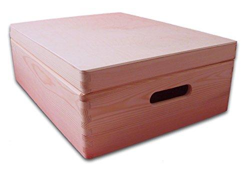 Medium Houten Kist met Deksel - Opbergkist - Speelgoeddoos - DIY Box - Plain Houten Kratje 40x 30x 14cm