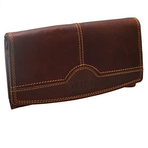 Wasserbüffel Wild Leder Vintage Hand Made Damen Portemonnaie in 5 Farben RFID Schutz (Rotbraun) mit RFID Schutz