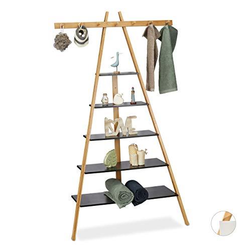 Relaxdays Leiterregal mit 5 Böden, Bad, Flur & Wohnzimmer, Bambus & MDF, Anstellregal mit 7 Haken, 160x90x38 cm, schwarz