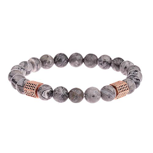 Niaofeces Armbänder Armband Marmor Stein Perlen Armband Homme Men Classic Zirkon Geometrische Charm Armbänder & Armreifen-Rose_Gold