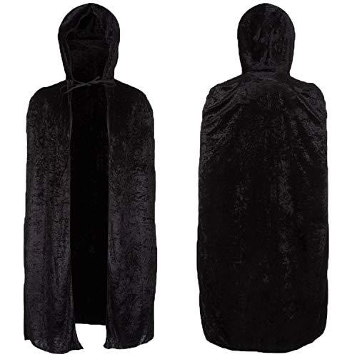 Capa de terciopelo negro para nios  120 cm de largo, capa con capucha, vampiro, segador de vampiro, superhroe, disfraz de disfraces, disfraz de fiesta de Halloween para nios y nias