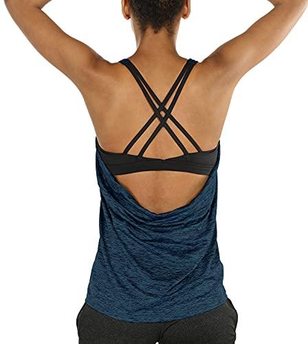 icyzone Damen Sport Yoga Top mit BH - 2 in 1 Fitness Shirt Cross Back BH Training Tanktop (S, Royal Blue)