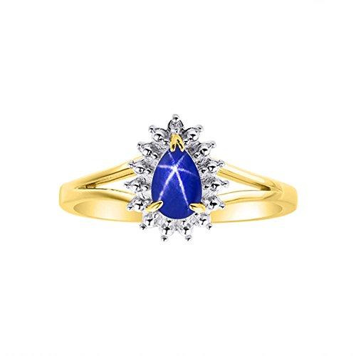 Diamond & Blue Star Sapphire anillo Set en 14K oro amarillo