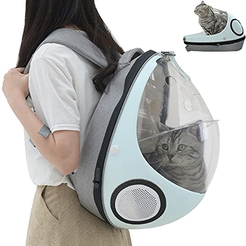 Kelendle Cats Backpack Carrier Pet Travel Carrier Bubble Bag for Cat Puppy Small Dog Cat Bed Cave House Portable Ventilated Breathable Mesh Airline Approved for Travel Hiking Outdoor Use (Blue)