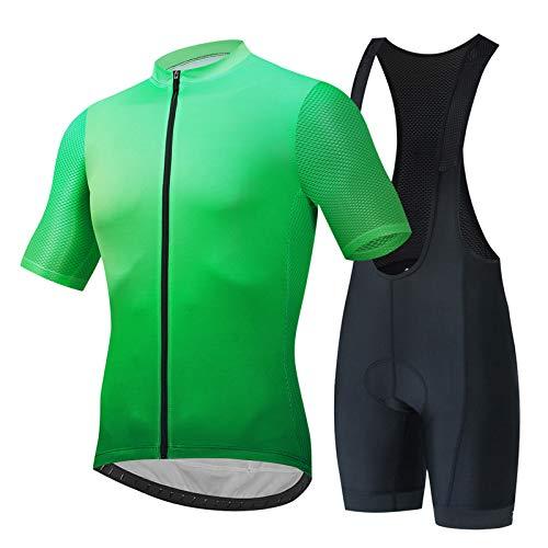 Hplights Ciclismo Jersey Set Bicicletas Manga Corta Conjunto de Secado Rápido Transpirable Camisa+4D Cojín Shorts Babero Acolchado Corto, XXXL