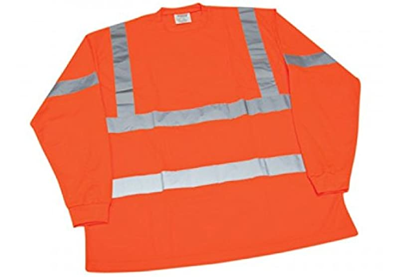 Ironwear 1204-O-TP-4-XL ANSI Class 3 Polyester Long Sleeve Crew Neck SAFETY Shirt with Pocket & 2
