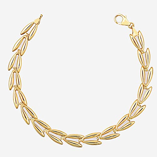TJC 9ct Yellow Gold V-Link Bracelet for Women Size 8.5 Inches in Glossy Finish
