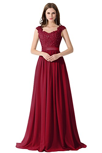Damen Elegant Herzform Spitzen Trauzeugin kleid mit Stickerei Lang Weinrot 38
