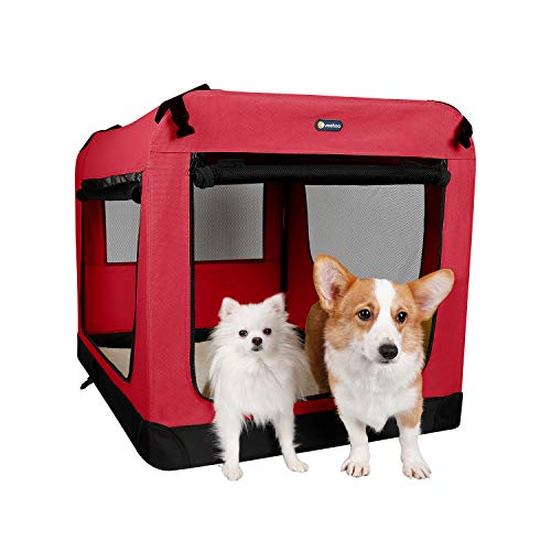 """Veehoo Folding Soft Dog Crate, 3-Door Pet Kennel for Crate-Training Dogs, 5 x Heavy-Weight Mesh Screen, 1200D Oxford Fabric, Indoor & Outdoor Use, 40"""", Red Basic Crates"""