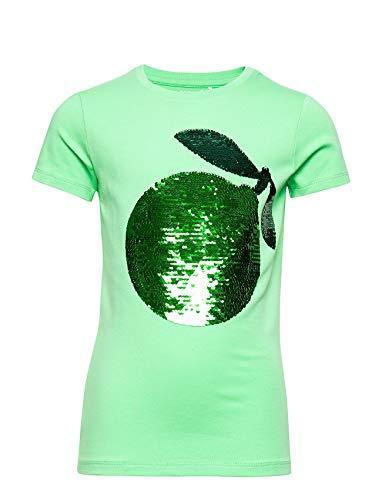 NAME IT Camiseta para niña con lentejuelas reversibles. Verde / Spring Bud...
