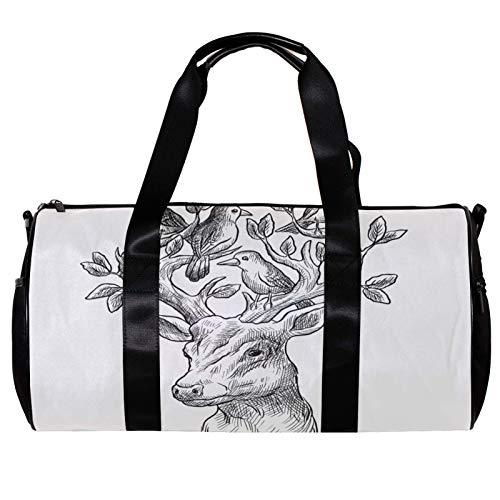 Bolsa de deporte redonda con correa de hombro desmontable, cabeza de árbol de ciervo con bolso de entrenamiento de aves para mujeres y hombres