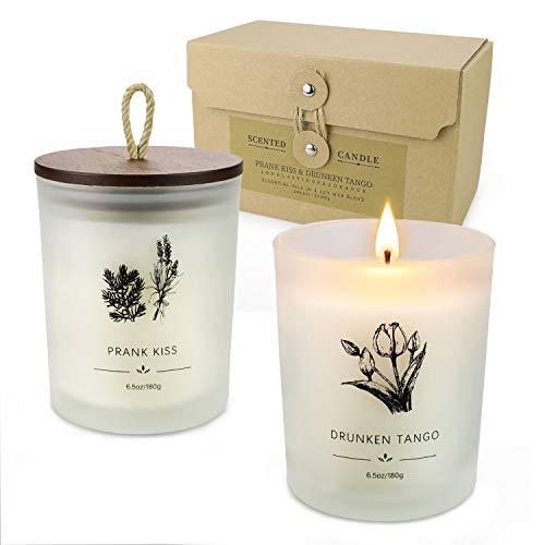 YINUO LIGHT Duftkerzen-Geschenkset, Aromatherapie-Kerzen-Geschenkset für Frauen, Soja-Kerzen-Sets, Kerzen-Geburtstagsgeschenke für Männer 2er-Pack 13 Unzen für 80 Stunden betrunkener Tango