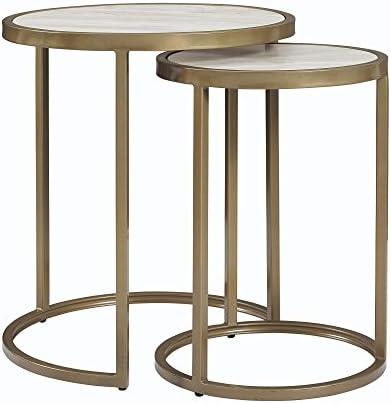 Best Dorel Living Moriah Nesting Tables, Soft Brass, Faux Marble